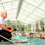 Water Exercise is another exercise done at The Watermark at 3030 Park for the independent living residents.  We are having a 3030 Triathlon during the week of the Active Aging Week in October and the first leg is to walk in our pool that is 45 feet long for 15 minutes..  The temperature is about 86-88 degrees and the view is spectacular.