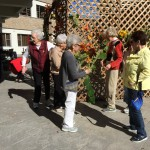 Decorating the Sukkah with the residents.
