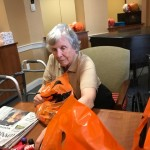 Mimi filling one of many bags!