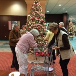 Decorating another tree in the W Lounge.