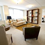 Living room in model apartment at The Watermark at 3030 Park