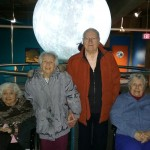 Residents enjoying the moon and solar system