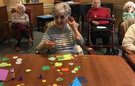 Assisted Living Residents At The Watermark At 3030 Park Getting Ready For St. Patrick's Day