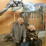 Joan and Shirley assisted living residents of The Inn with a prehistoric elephant