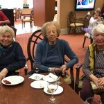 Watermark at 3030 Park residents, Fran, Ruth and Adele at wine & cheese social