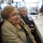 Two of our Gardens residents waiting to be served their delicious Italian spaghetti and meatballs.