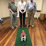 The men's group at the Watermark at 3030 made 18 mini golf holes with a variety of display pieces.