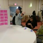 Build On students and Resident partners work together to find the answers during the Jeopardy tournament.