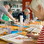 Our art studio is always full of participants in the independent living neighborhood at The Watermark at 3030 Park.